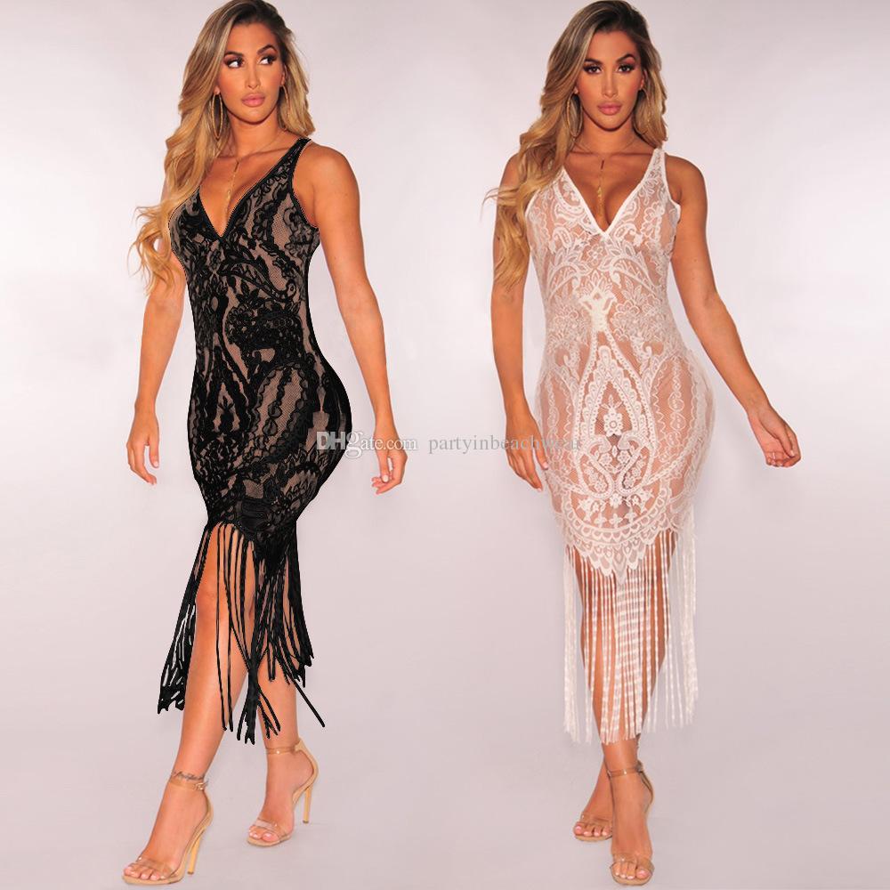 37c7bf493e691 Compre Mujeres Borla Transparente Bikini De Playa Cubiertas De Verano  Ganchillo Bordado De Encaje Traje De Baño Protector Solar Vestido Traje De  Baño Traje ...