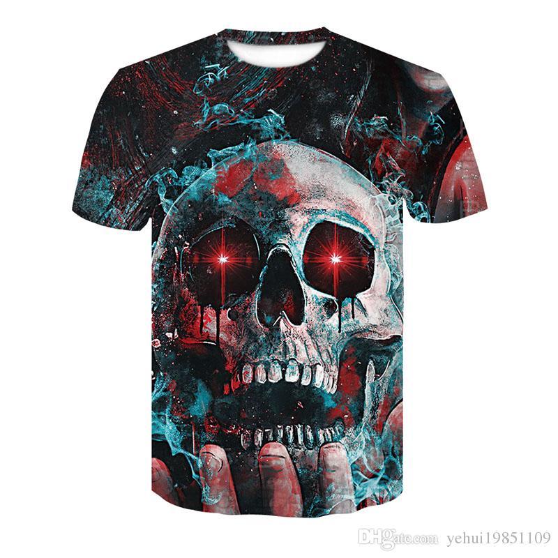 New Arrival 3d fashion t shirt harajuku print dark souls Blue blaze skull Crossfit streetwear funny summer short sleeve t-shirt