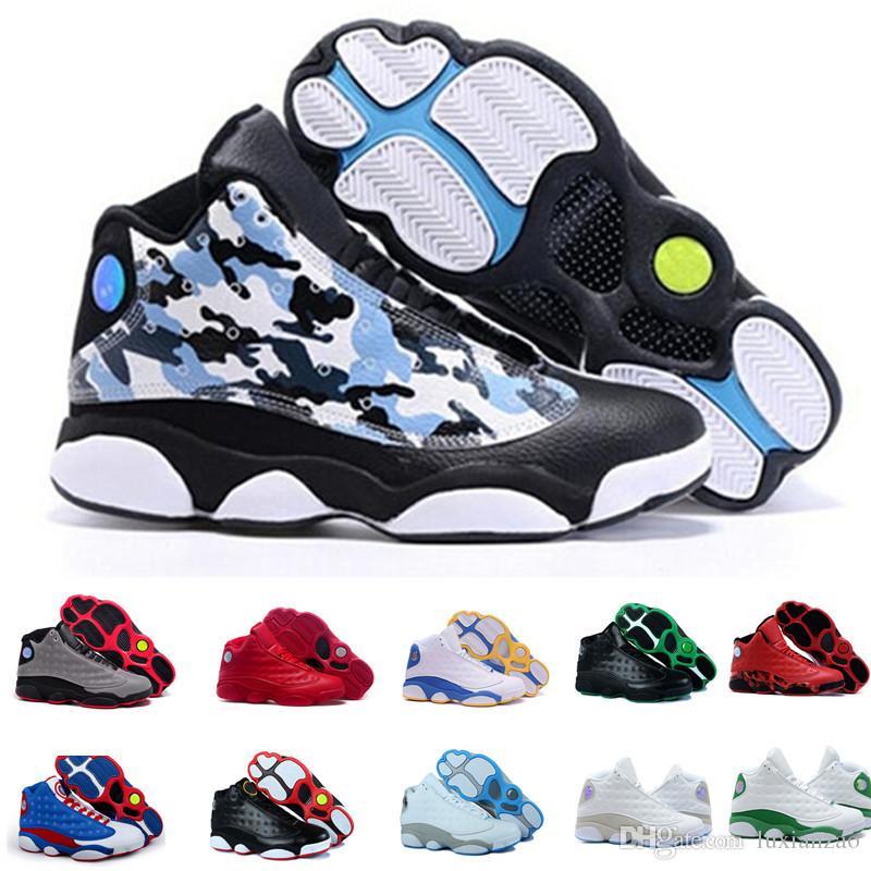 finest selection 4337e 304c7 Acheter Nike Air Jordan 13 Aj13 Retro Haute Qualité 13 Bred Chicago Flints  Hommes Femmes Basketball Chaussures 13 DMP Gris Toe Histoire De Vol All  Star ...
