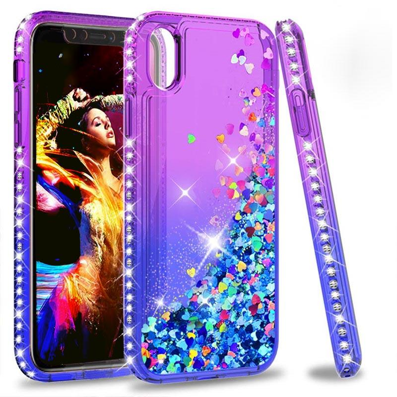 coque iphone xr liquide paillettes