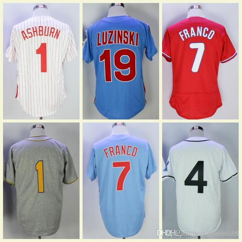 premium selection 08e55 fb3ce Vintage Philadelphia Jersey 1 Richie Ashburn 3 Chuck Klein 7 Maikel Franco  8 Shane Victorino 19 Greg Luzinski Retro Baseball Jerseys