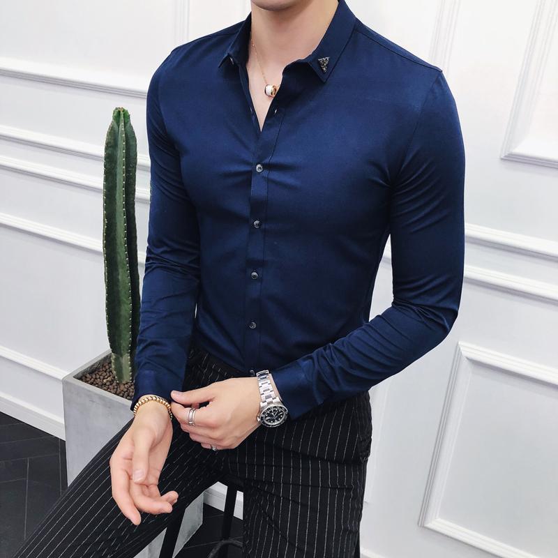 1bd313f0888a Acquista Moda Uomo Abbigliamento 2018 Autunno Coreano Nuovo Slim Fit Uomo  Camicie Manica Lunga Solido All Match Casual Camicia Camicia Prom Tuxedo A  $42.25 ...