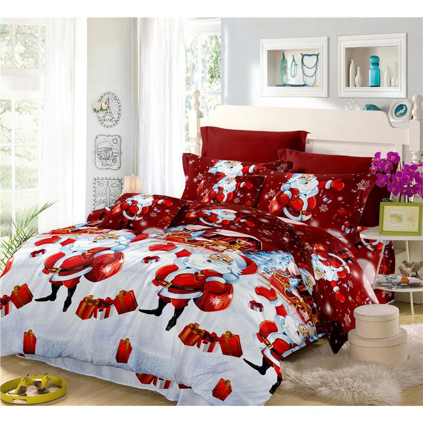 home textile 3d christmas bedding set cartoon santa claus gift red duvet cover set bedroom decor pillowcase bed sheets c20 duvet covers king daybed bedding - Christmas Bedding Sets