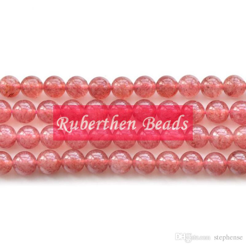 NB0083 Trendy Natural Stone Wholesale Strawberry Crystal Loose Beads Stone Round Bead Best Jewelry Making Accessory