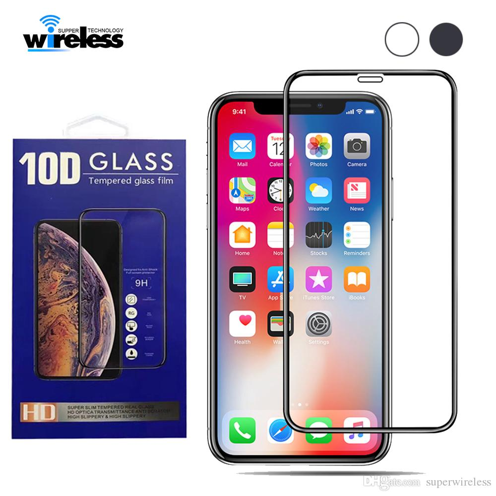 huge discount 0806c 914ec For iPhone Xs Max Xr Tempered Glass 9H Full Glue Curved Screen Protector  for iPhone 8 7 X Full Cover Film 3D Edge