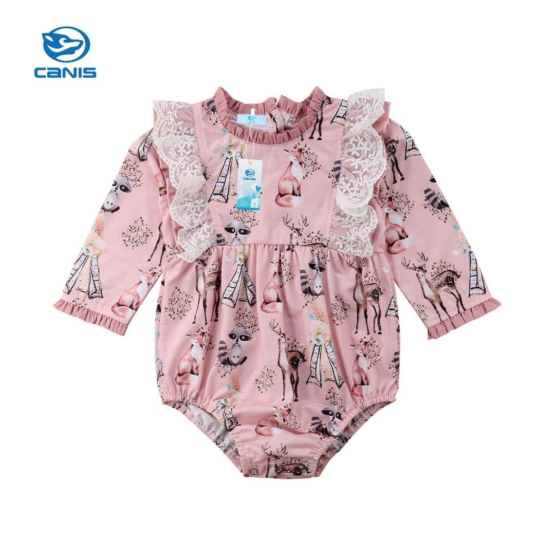 489c4161a7 2019 Newborn Baby Girls Long Sleeve Animal Pink Lovely Cute Fall Winter Lace  Bodysuit Jumpsuit Floral Clothes Outfits From Universecp