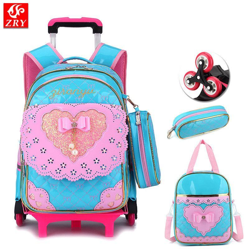 961ba75c4bd8 Children 2 6 wheel Trolley schoolbag waterproof PU kid Backpack bow design  Orthopedic School Bags teenagers Girl travel lage