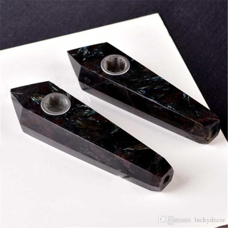 Arfvedsonite Point Pipe Natural Astrophyllite Crystal Pipe Carved Black Stone Blue Flash Meditation Intuition Scrying Gemstone Tobacco Pipe