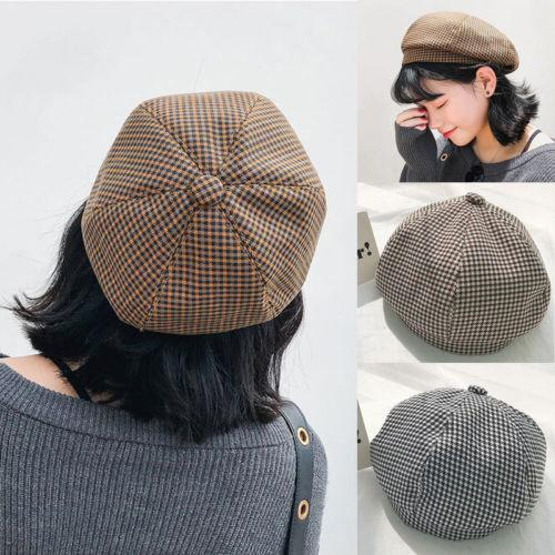5f90c9d3b New Style Vintage Plaid Beret Women Girl Winter Warm Beret Hat Outdoor Lady  Fashion French Berets Tam Slouch Hat Warm Cap