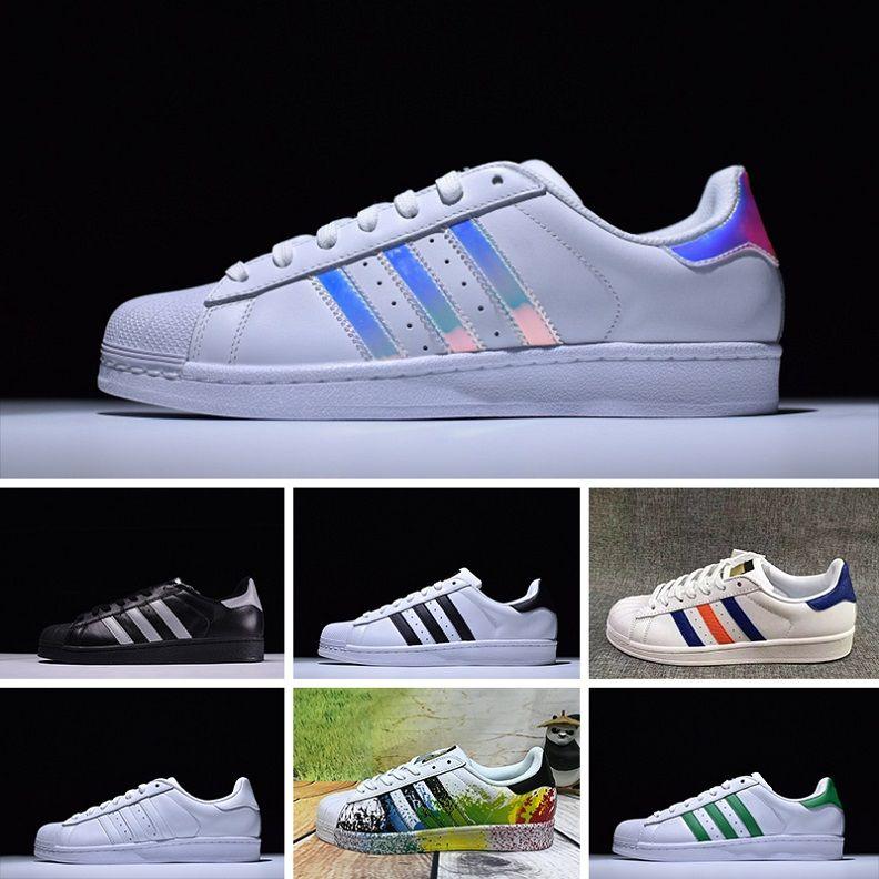 98ce0bfdede Compre 2016 Adidas Superstar 80s Running Shoes NOVOS Originais Sup Branco  Holograma Iridescente Junior Sup 80 S Orgulho Sne Super Estrela Mulheres  Homens ...