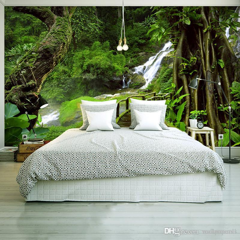 Custom Wallpaper Murals 3D HD Nature Green Forest Trees Rocks Photography  Background Wall Painting Living Room Sofa Photo Mural Wallpapers