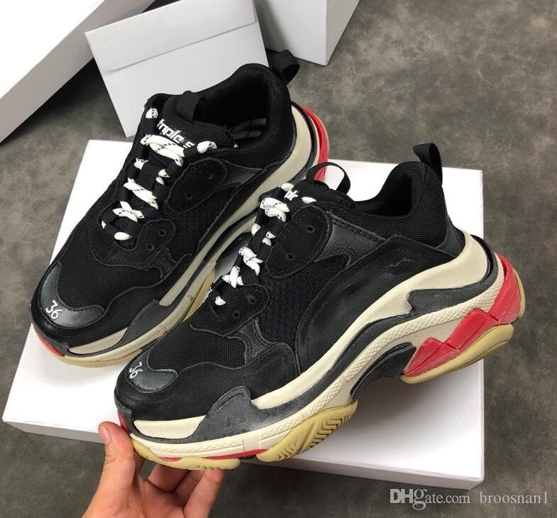 08d8bab1e9f Acheter New Original Box Dévoile Nouveau Triple S Casual Chaussure Homme  Femme Sneaker Haute Qualité Couleurs Mixtes Épais Talon Grand Père Trainer  ...