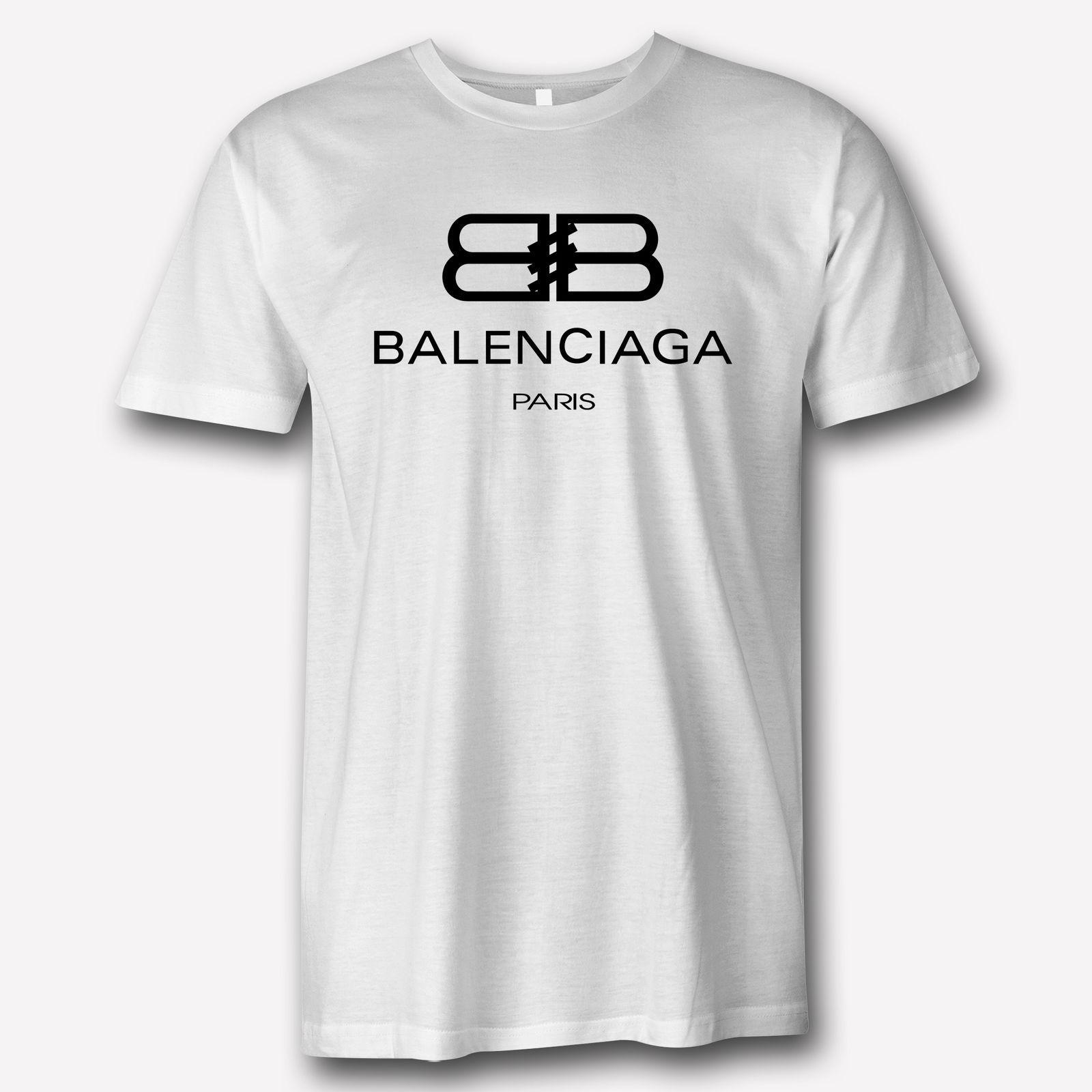 3e901955 New 1Balenciaga Paris Famous Apparel logo White T Shirt 2018 Men'S Lastest  Fashion Short Sleeve Printed funny T-shirt Quality Cotton Hip