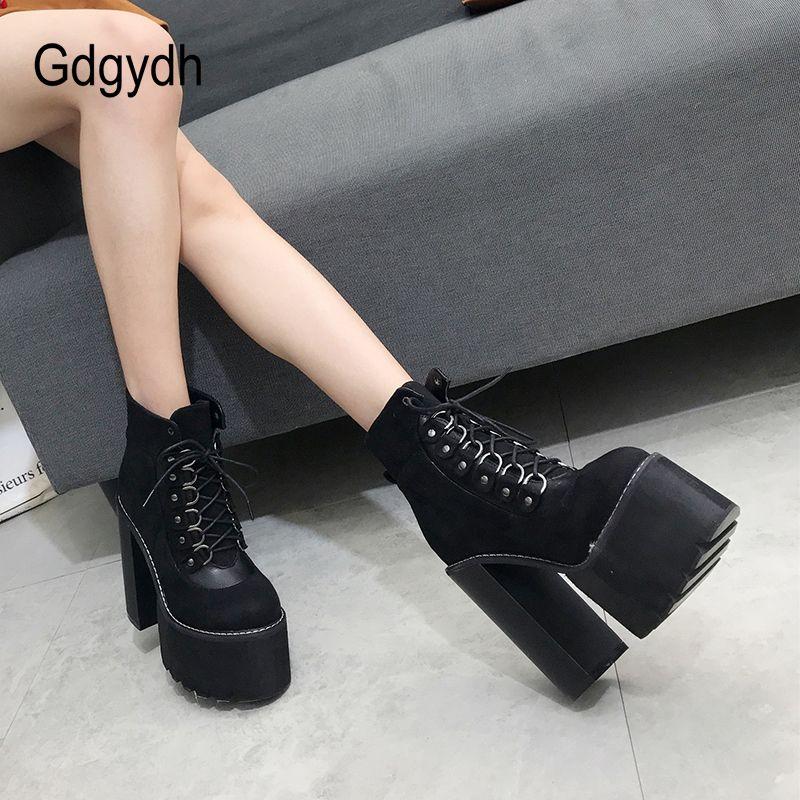 Gdgydh Wholesale 2018 Black Ladies Boots Heel Spring Women Autumn Shoes prendas de vestir exteriores de punta redonda botines para las mujeres regalo