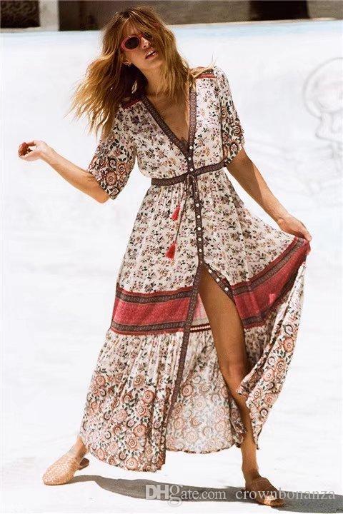 2018 Women's boho Maxi Long Dress Floral Printing Cotton Dresses Summer Beach Dress Bohemian Button Chic Vintage Dress