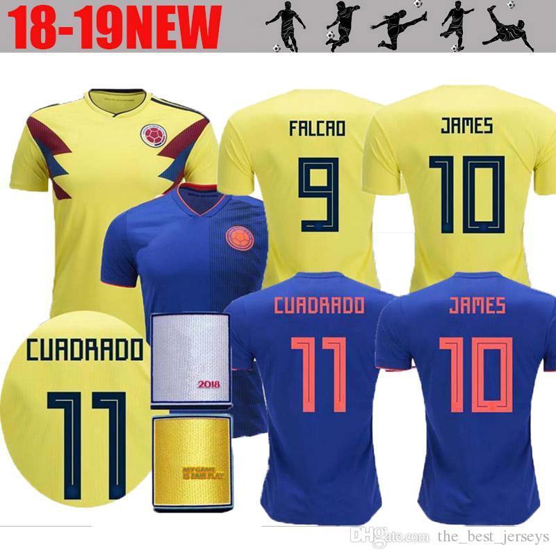 2018 Copa Del Mundo Camiseta De Fútbol Masculino Columbia 10 JAMES 9 FALCAO  11 CUADRADO Selección Nacional Camisetas De Fútbol De Visitante Por ... 86e7db55de444
