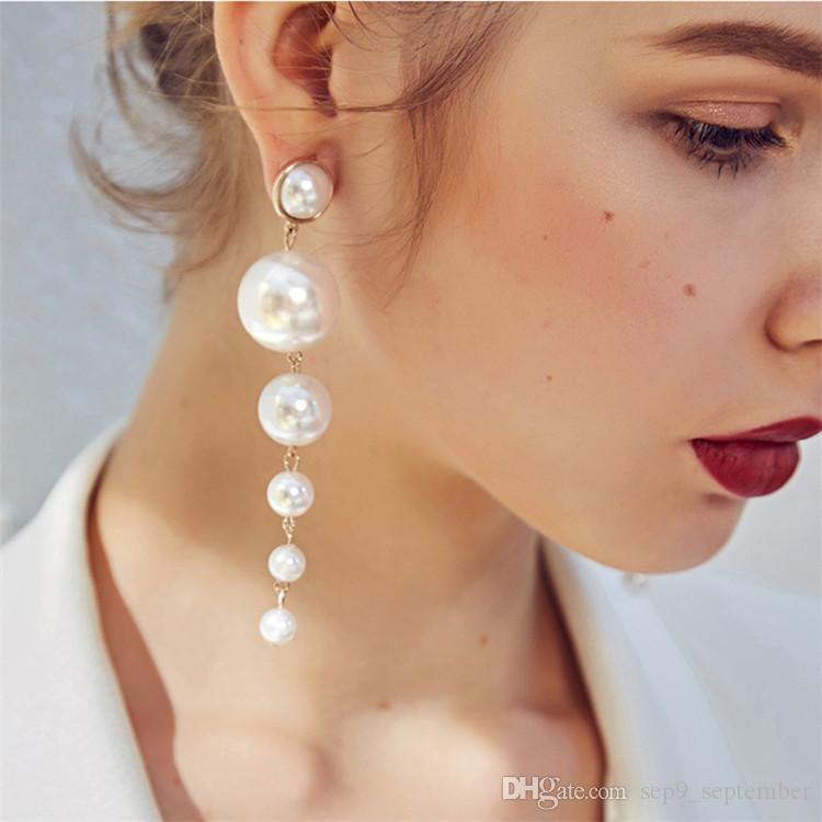 Simple Elegant Long Tassel Chandeliers Earrings for Women Gifts New Arrival Pearl Dangle Earrings Fashion Jewelry