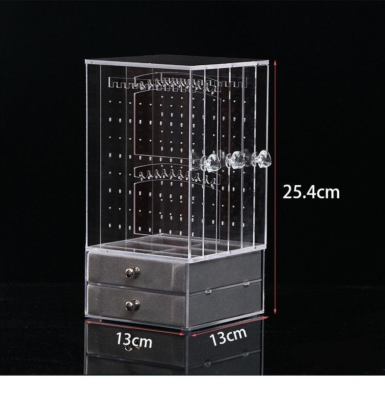 Acrílico Pendiente Soporte de exhibición Organizador Titular Pendiente Espárragos Almacenaje Joyería clara Organizador Caja Rack con Drawer5.1 * 5.1 * 10 pulgadas