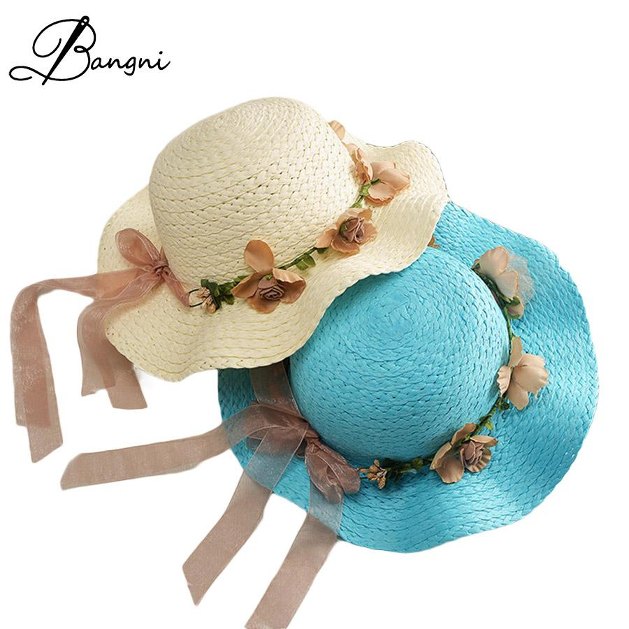 15f72eadc1e 2017 Fashion Folded Floppy Summer Sun Hat Wide Brim Flowers Bowknot Women  Beach Hats Straw Hat Girls Panama Caps Chapeu Feminino Tea Party Hats Rain  Hat ...