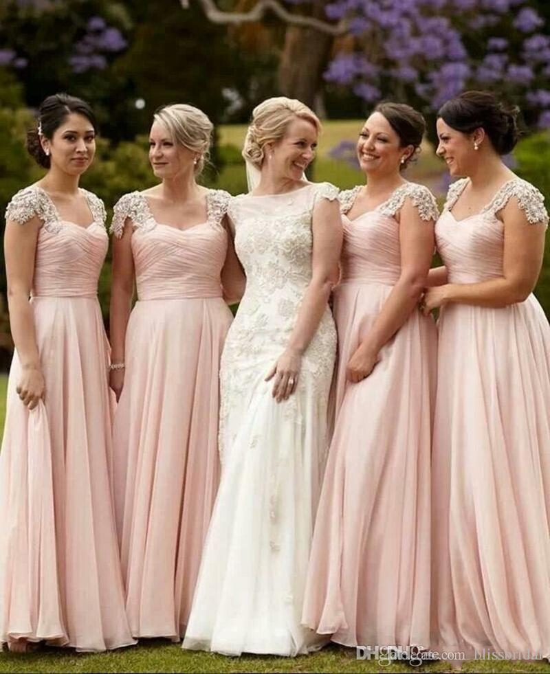 Elegante rosa tampado vestidos de dama de honra ruffle top longo chiffon vestido estilo country praia dama de honra vestidos de casamento formal wear