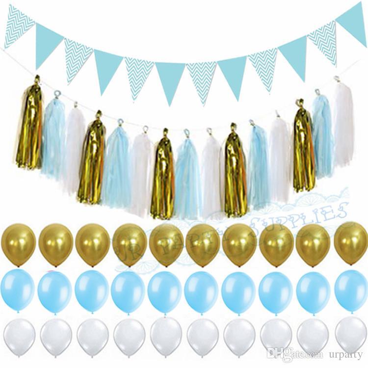 2019 Light Blue Gold Paper Tassel Garland Flag Banner Birthday Party Wedding Decor Baby Boy Shower Nursery From Urparty 179