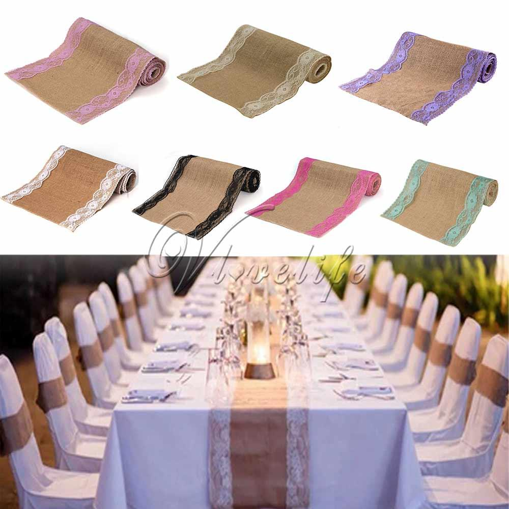 Vintage Hessian Burlap Lace Table Runner Classical Country Party ...