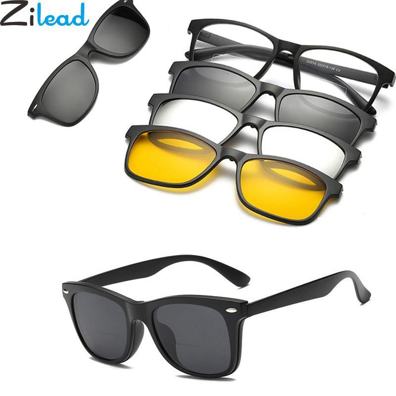 9c871708cc Zilead 3 Lenes Magnet Sunglasses Reading Glasses Clip Mirrored Clip On  Sunglasses Men Polarized Clips Custom Prescription Myopia Black Sunglasses  Cycling ...
