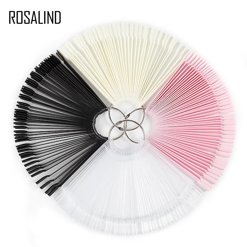 ROSALIND 50pcs/set False Nail Fan Board Display Gel Lacquer Color Nail Art Tips False Round Hoop Stick Practice Manicure Tools Y18101101
