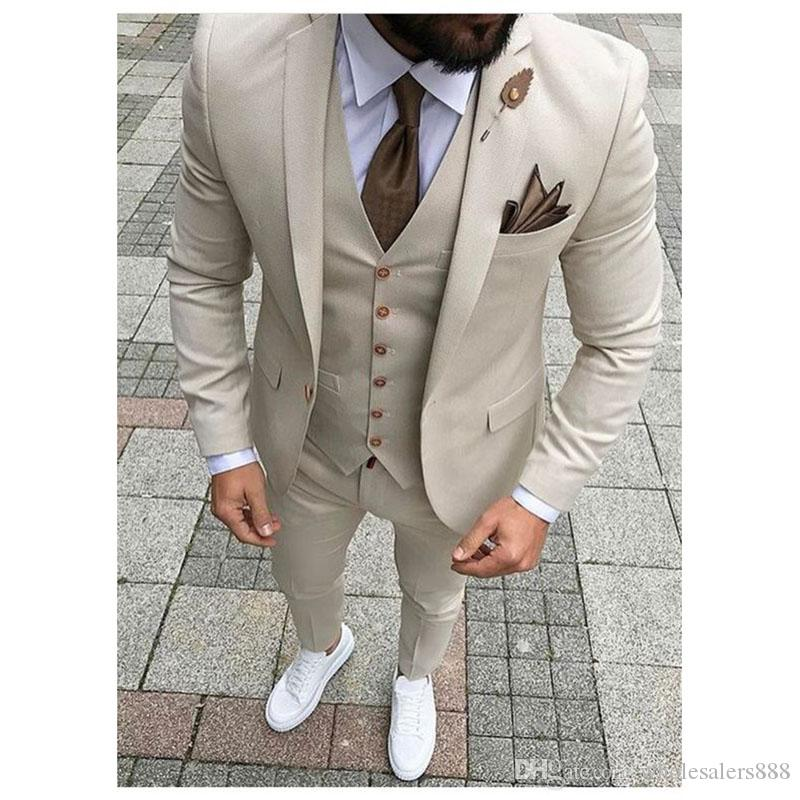 Custom Made Groomsmen Beige Groom Tuxedos Notch Lapel Men Suits Wedding Best Man Bridegroom (Jacket + Pants + Vest + Tie) L59