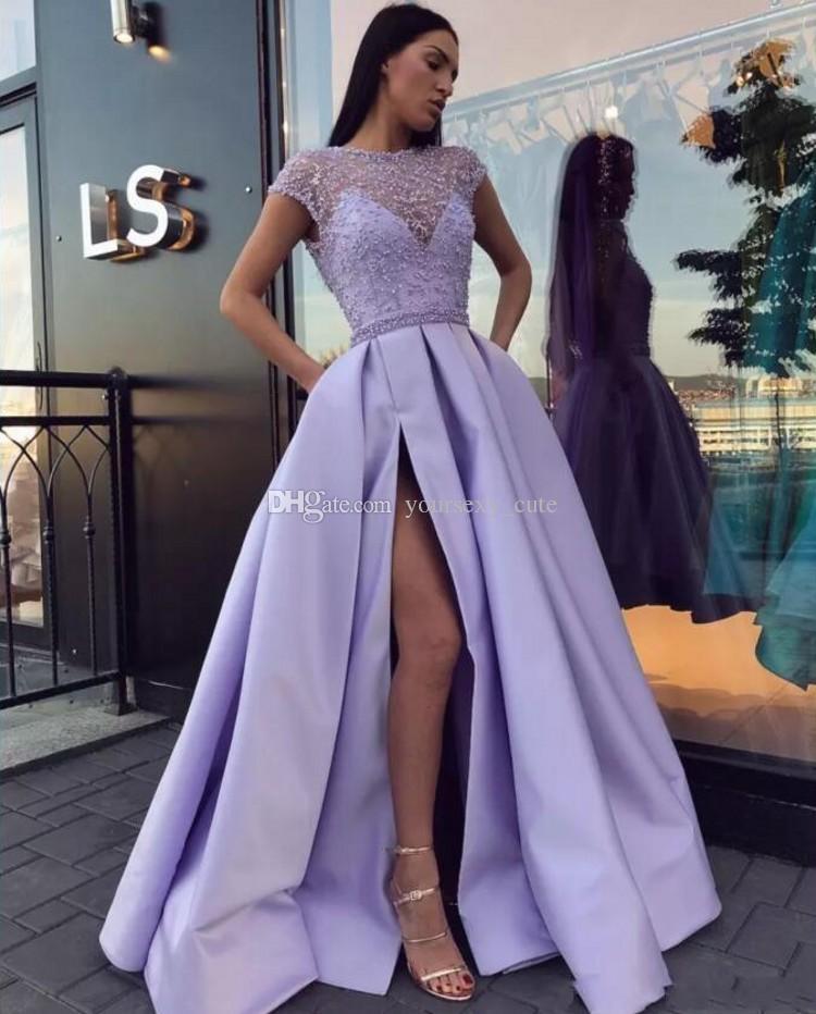 Lavender Beading Satin Formal Evening Dresses Bateau Neck Cap Sleeves Split Side Floor Length Prom Dresses Lace Up