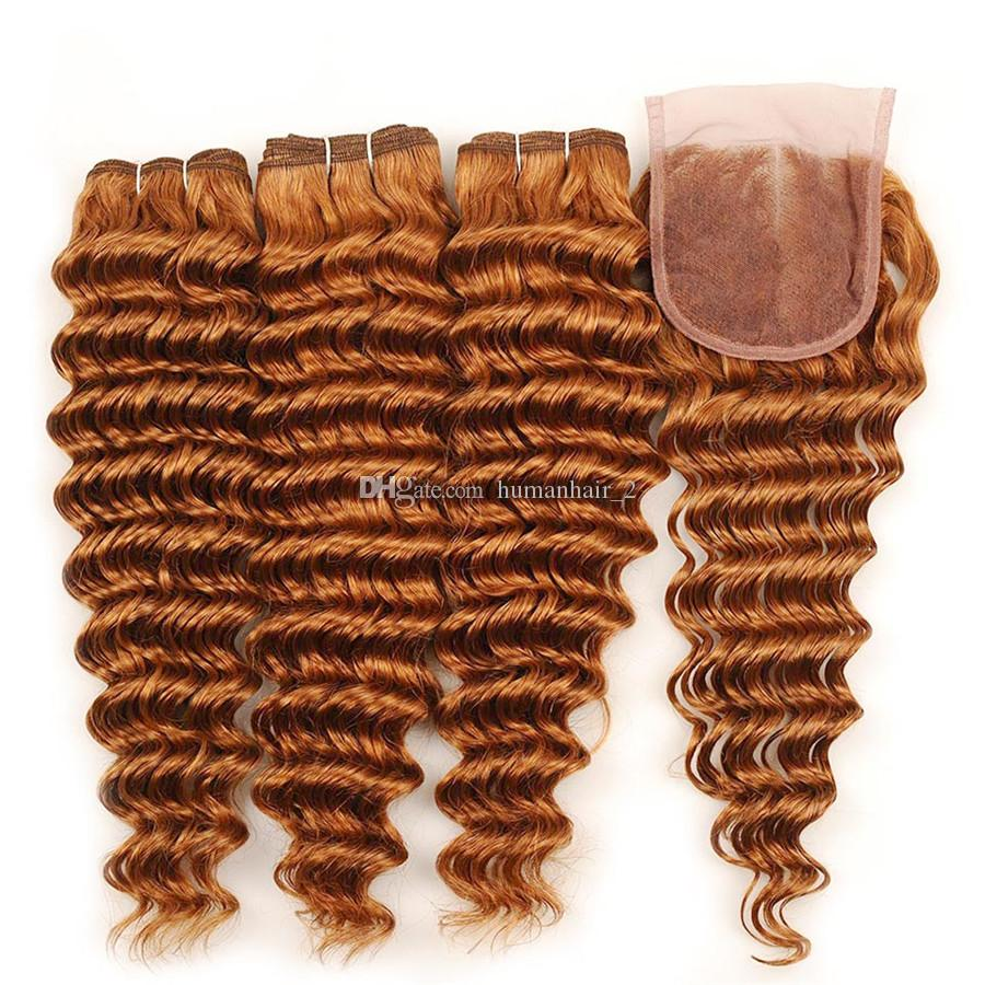 Deep Wave Auburn Lace Closure With Bundles #30 Pure Middle Auburn Brown Deep Wave Wavy Curly Virgin Hair 3 Bundles With Closure