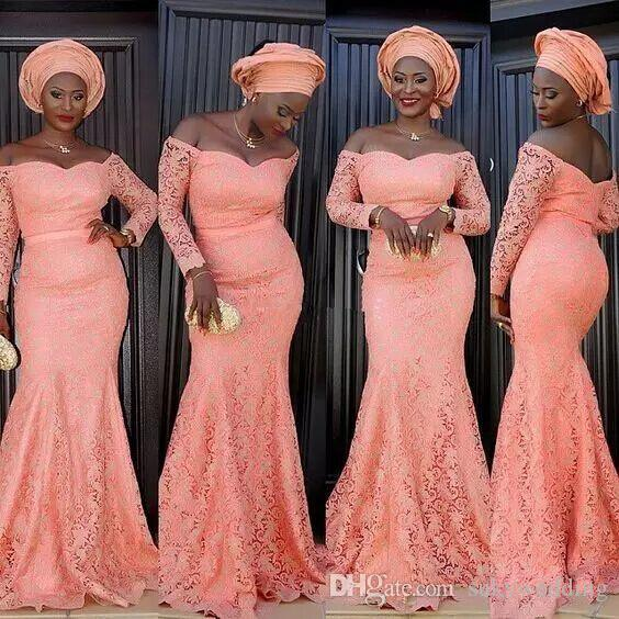 2018 Nigeria Style Lace Evening Dresses With Long Sleeve Mermaid ...