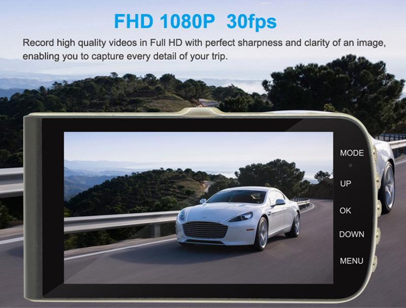 """Starlight super night vision car DVR recorder 4"""" IPS display 170° wide view angle full HD 1080P 2Ch G-sensor WDR motion detection"""