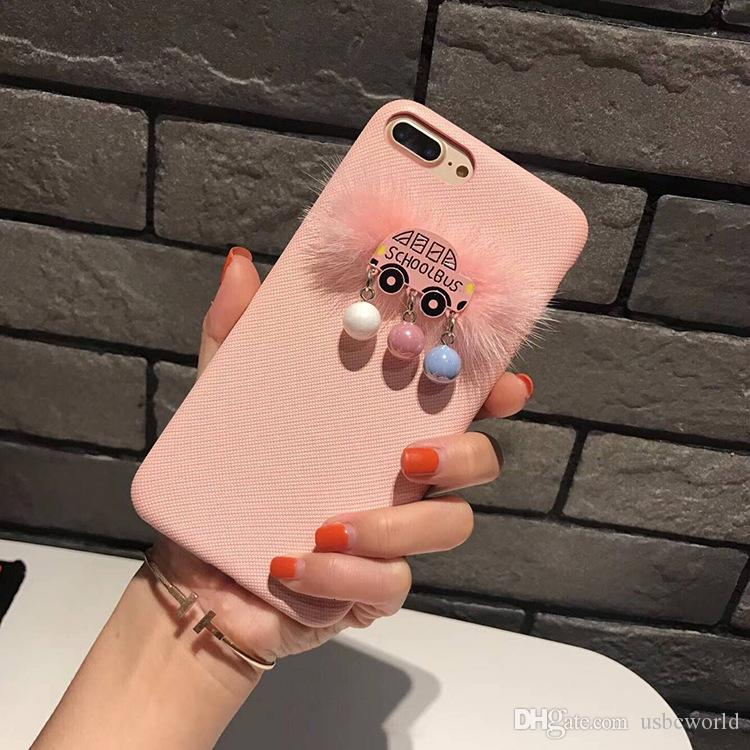 Cute 3D School Bus With Pearl Phone Case For Iphone X Leather Design Phone Shell For Iphone 6 7 8 Plus