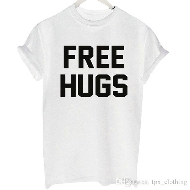 Free hugs t shirt Cool words give love short sleeve gown Street leisure  tees Unisex clothing Pure color cotton Tshirt