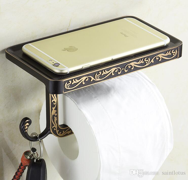 2018 Toilet Paper Holder With Phone Shelf Towel Roll Rack Phone Shelf With Hooks Wall Mounted full brass zinc alloy Toilet Paper