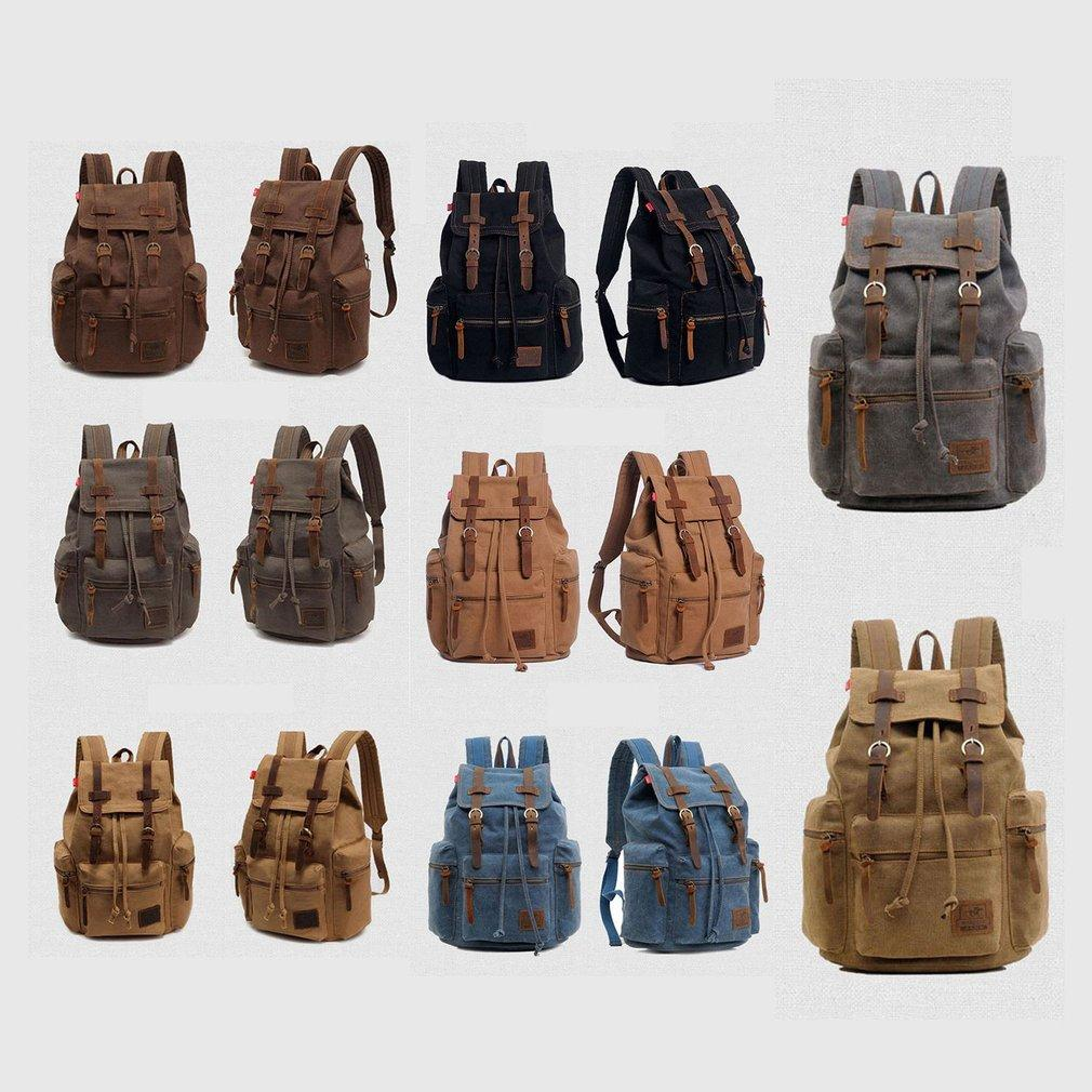 Vintage Fashionable Solid Color Men Women Travel Canvas Backpack Rucksack  Camping Laptop Hiking School Book Bag 2018 Mens Backpacks Swiss Army  Backpack From ... 8806a5a0deb2f