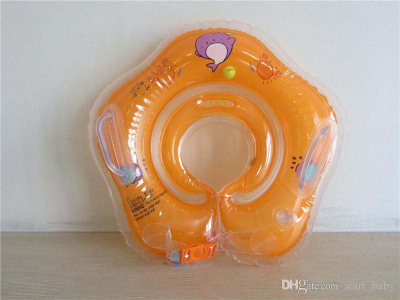 جديد الدلفين الرضع الرقبة تعويم دائرة للاستحمام السباحة الكرتون pvc نفخ 39 سنتيمتر / 15 بوصة سلامة الطفل الرقبة دائرة مزدوجة أكياس هوائية b11