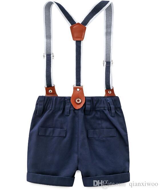 Nouveau Summer Bébé Garçons Ensemble Gengleman Enfants Bow Tie Manches Courtes Chemise + Jarretelles Shorts Garçon Vêtements Costume Enfants Tenues W176