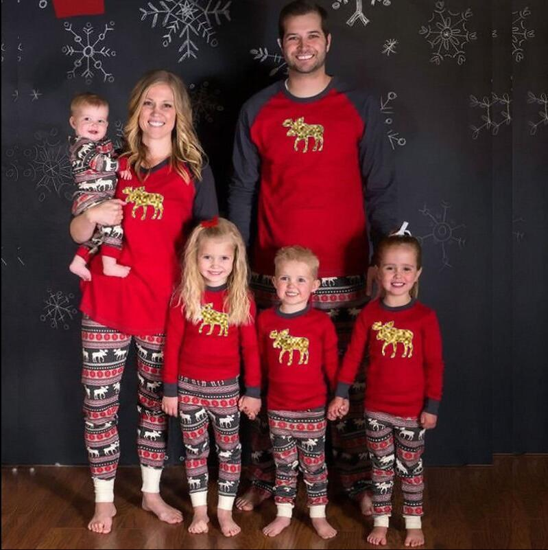 dc70098a4c XMAS Moose Fairy Family Matching Christmas Pajamas Set Women Baby Kids Deer  Sleepwear Red Cotton Adult Kids Pajama Set Matching Sister Outfits Mom And  ...
