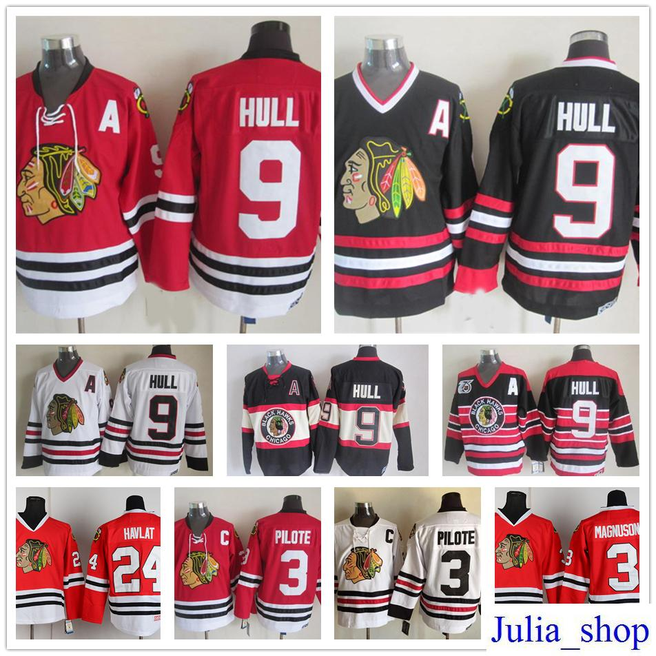 119bed9c7 ... stitched logos top quality from cooljersey 37.09 dhgate  2018 throwback  hockey 9 bobby hull jersey mens chicago blackhawks vintage ccm 3 pierre  pilote ...