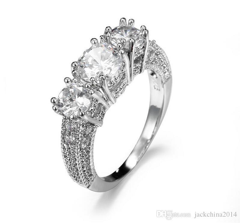 Taille 6/7/8/9 Livraison gratuite 100% Nouveau Marque design mode bijoux en or blanc 10 kt rempli trois pierres topaze blanche Gem femmes weddiing Ring