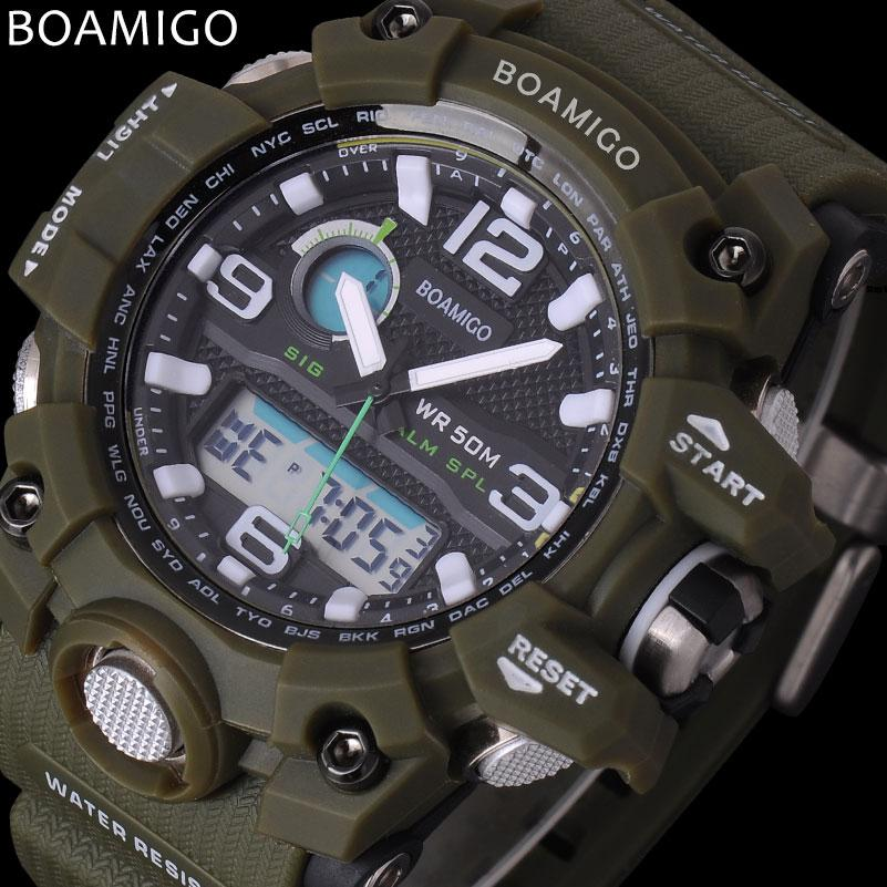 a48af42c229 Compre X Homens Esporte Relógios BOAMIGO Marca LED Digital Relógios Militar Analógico  Relógio De Quartzo Pulseira De Borracha Verde 50 M À Prova D  água ...