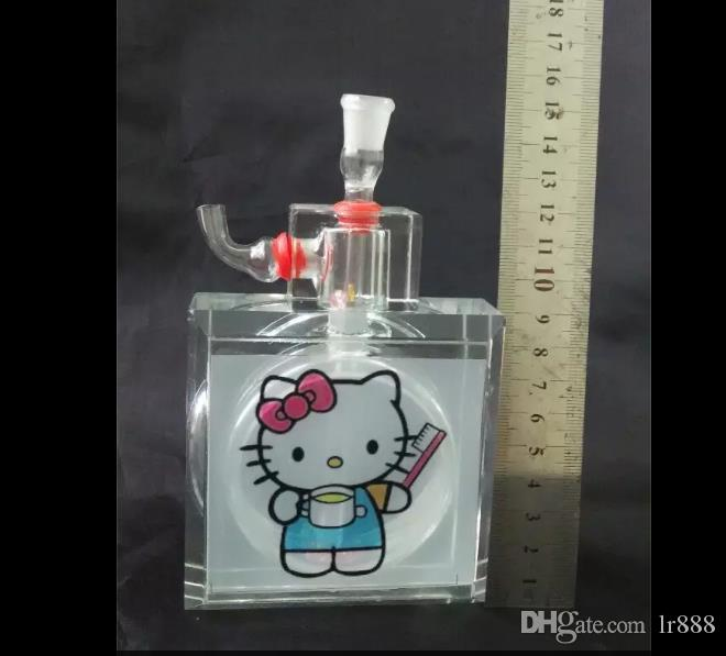 Hello Kitty water bottle Wholesale Bongs Oil Burner Pipes Water Pipes Glass Pipe Oil Rigs Smoking