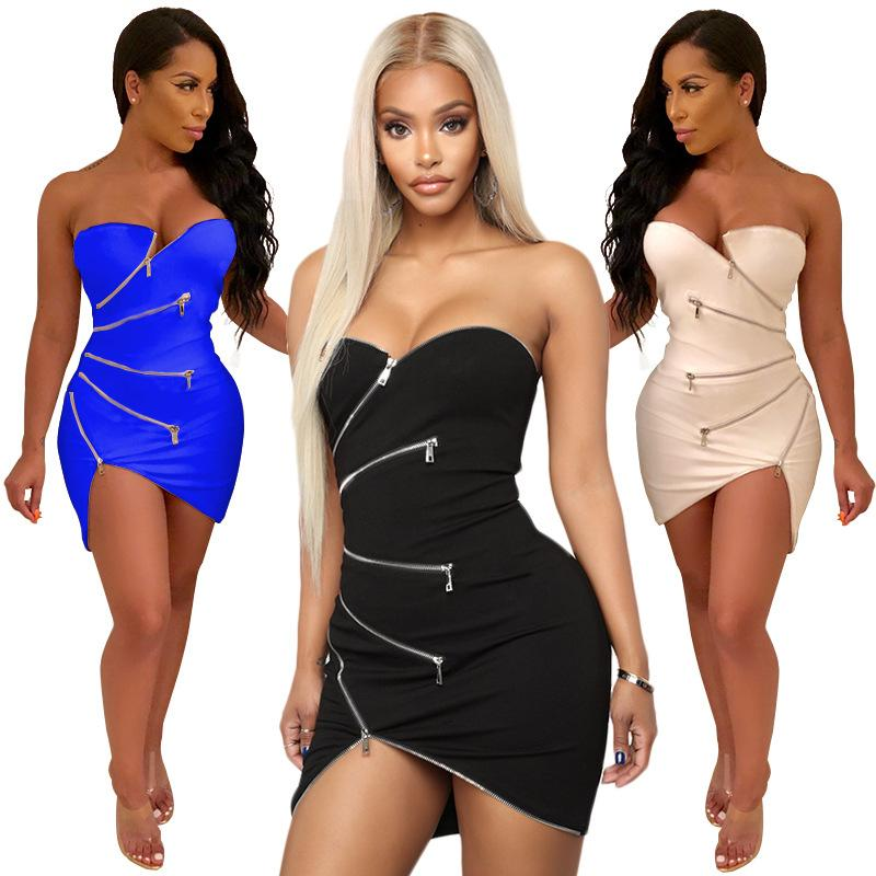8771a56197a 2019 Sexy Sleeveless Dress For Women Fashion Tube Top Dress Cocktail Party  Nightclub Dresses Tight Mini Dress From Wuarray