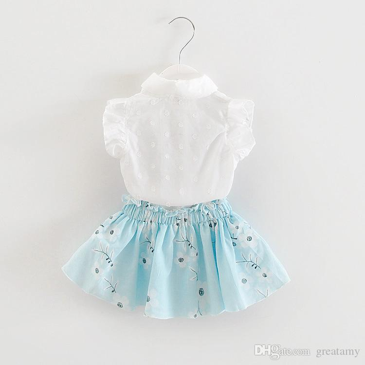 baby clothes girls flower shirt tops+floral skirt clothing set girl's outfits children suit kids summer boutique clothes