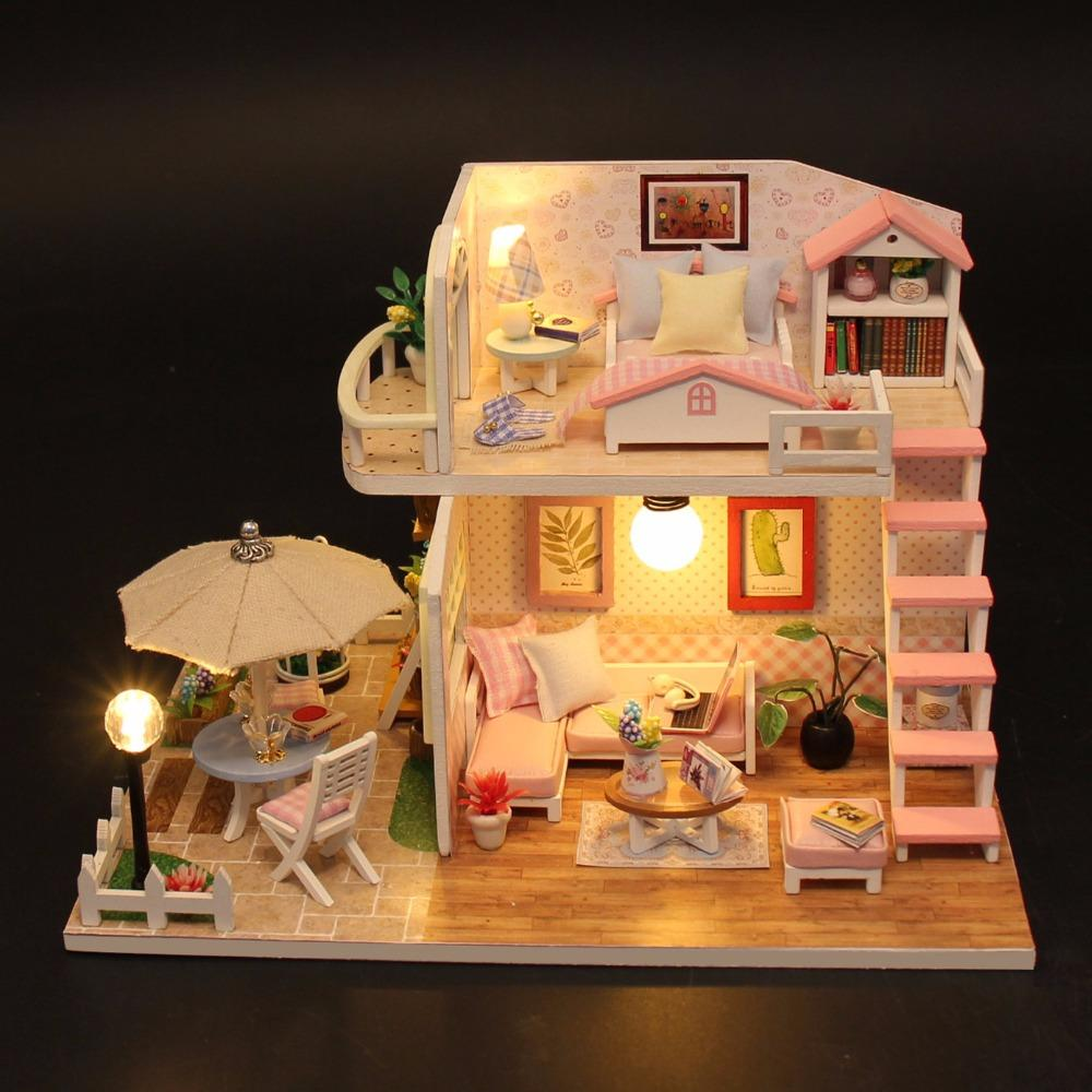 Großhandel Weihnachtsgeschenke Miniatur Diy Puzzle Spielzeug Puppenhaus  Modell Holzmöbel Bausteine Spielzeug Geburtstagsgeschenke PINK LOFT VILLA  Von ... 85ed3be107