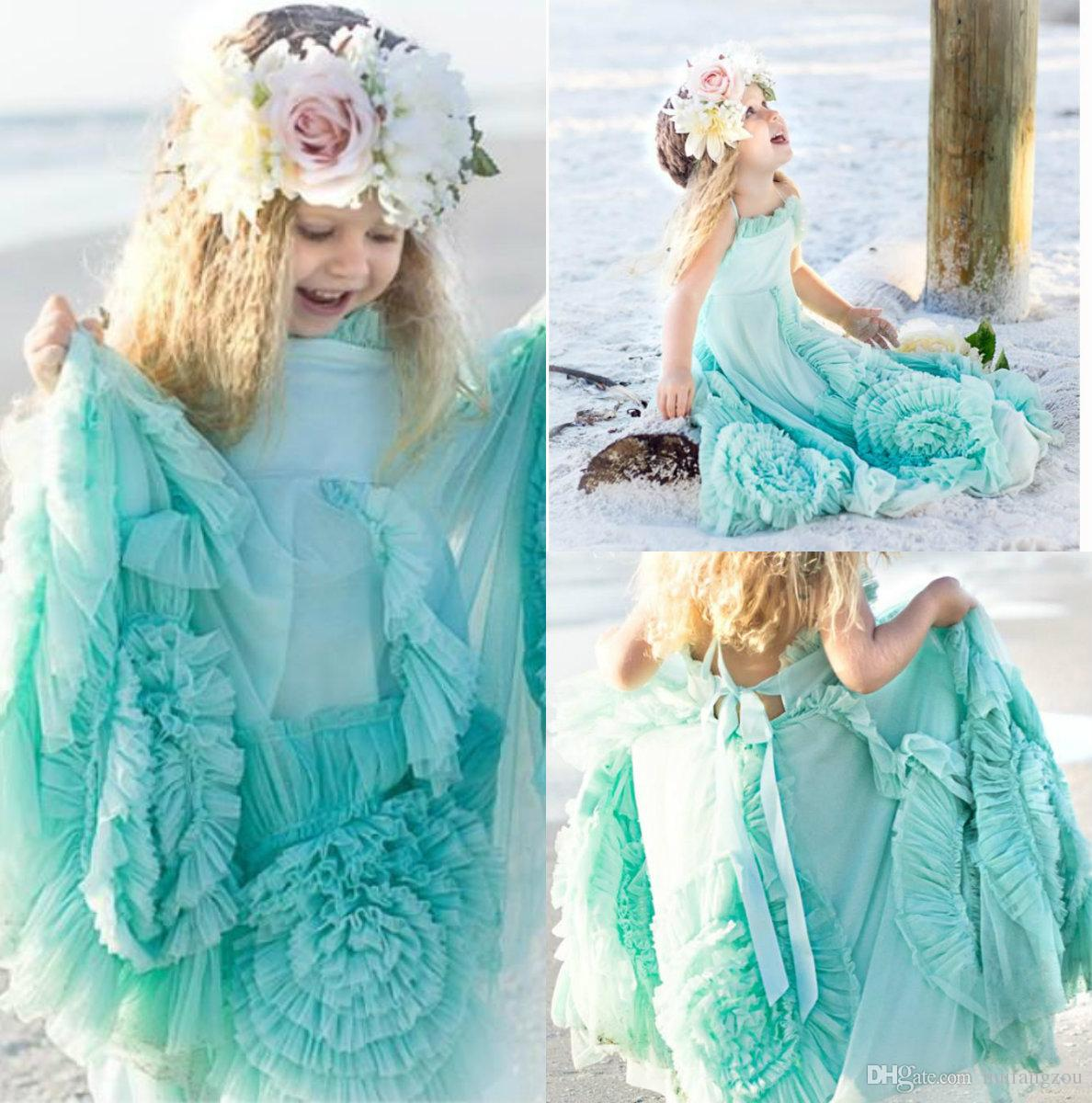 Hot Selling Cute Sky Blue Flower Girl Dresses Ruffle Tulle Lace