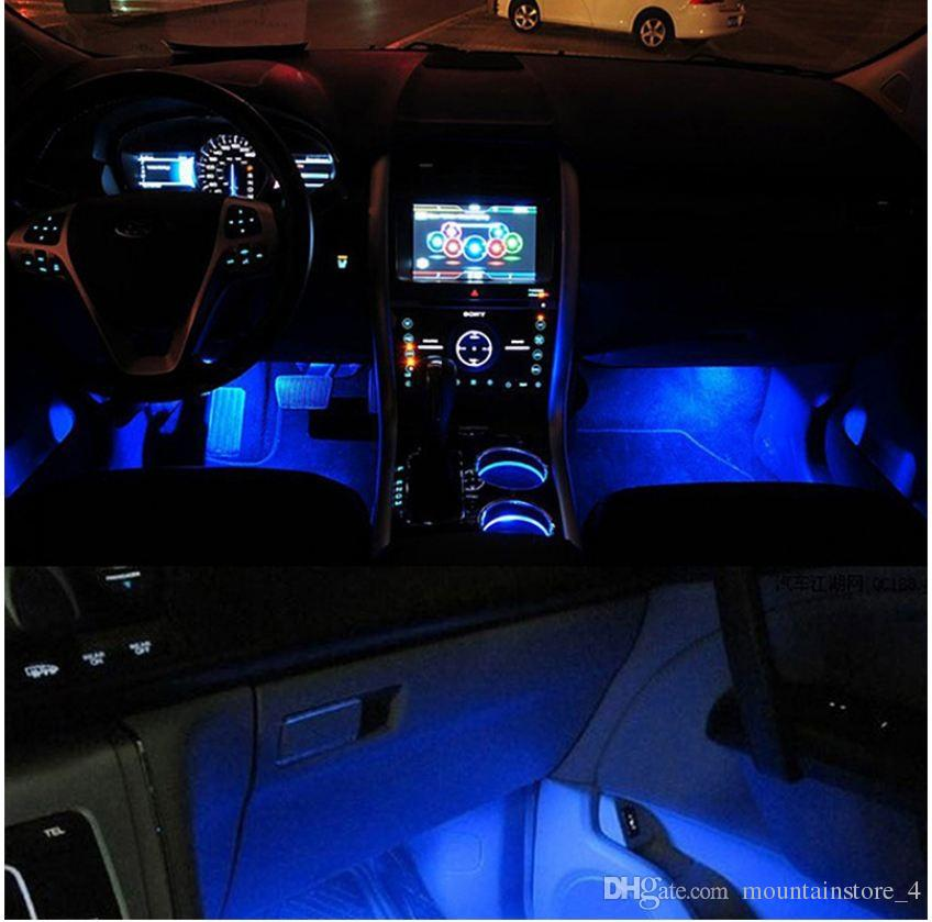 Newly Blue 4 in 1 12V 4 x 3 LED car Interior light Decorative Atmosphere Light Lamp (Retail)