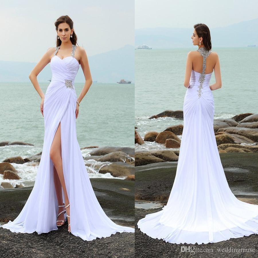 cb7a9628a2 Sheath Column Straps Beading Sleeveless Long Chiffon Beach Wedding Dresses  Front Slit White Crystals Bridal Dress Vestidos De Noiva Renda Ma Grecian  Wedding ...